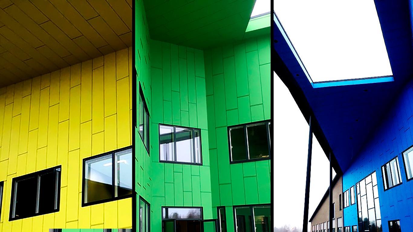 Urjalan yhtenäiskoulu, julkisivuverhous: Equitone Pictura -julkisivulevyt - julkisivulevyn valinta vaikuttaa elinkaarikustannuksiin